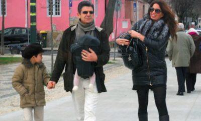 Filho de Bárbara Guimarães, Dinis, com os pais