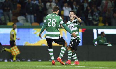 Bas Dost festeja com Podence golo do Sporting