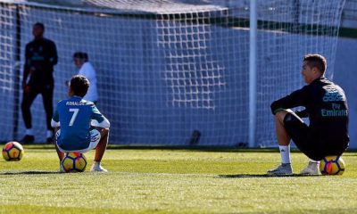 Cristiano Ronaldo e o filho no treino do Real Madrid