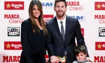 Messi acompanhado da mulher e do filho