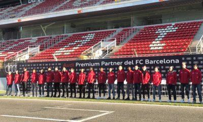 Jogadores do Barcelona no Circuito da Catalunha