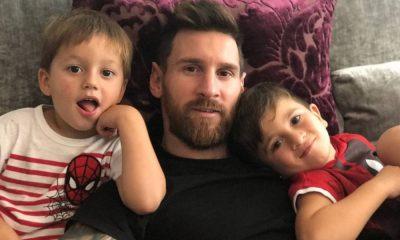 Messi com os filhos Thiago e Matheo