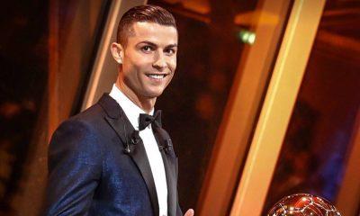 Cristiano Ronaldo na entrega da Bola de Ouro 2017