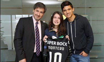 Bruno de Carvalho com a filha Catarina e Fredy Montero