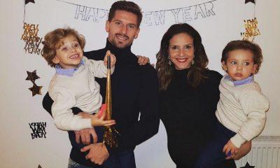 Adrien Silva com a família na passagem do ano