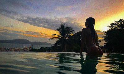 Rita Pereira na piscina do hotel em Martinique