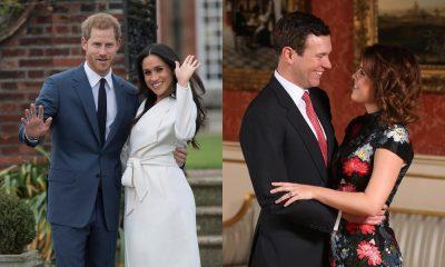 Meghan Markle e Príncipe Harry (esquerda) e Princesa Eugenie e Jack Brooksbank