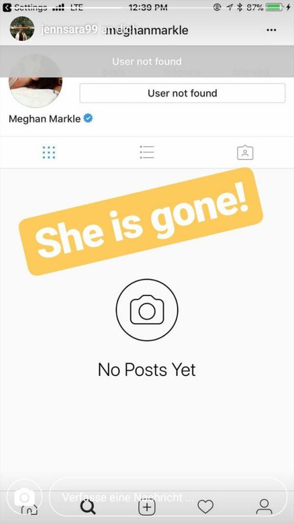 Meghan Markle encerra a sua conta no Instagram