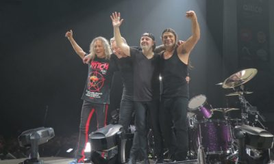 Metallica no fim do concerto em Lisboa