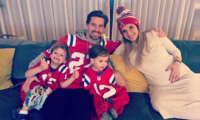 Adrien Silva ao lado da família na noite do Super Bowl