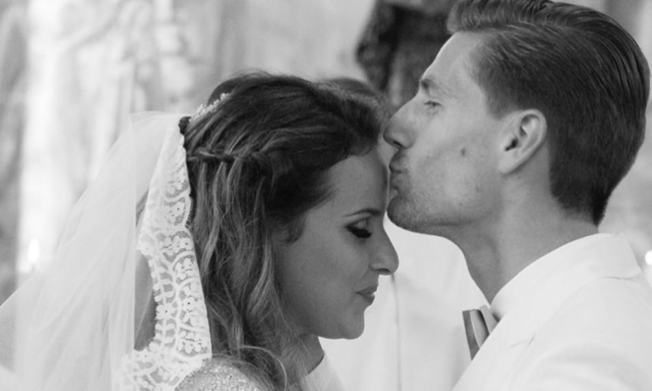 Adrien Silva e Margarida Neuparth no dia do casamento