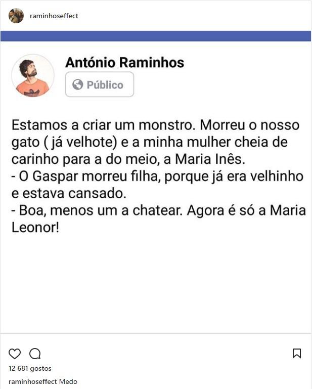 António Raminhos relata conversa entre a mulher e a filha