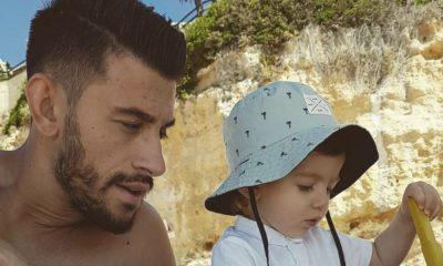 Pizzi com o filho Afonso durante as férias de Verão