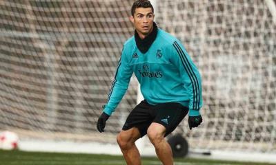 Cristiano Ronaldo num treino do Real Madrid