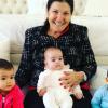 Dolores Aveiro com os netos, Eva, Mateo e Alana Martina