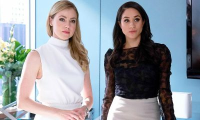 "Amanda Schull e Meghan Markle durante as gravações de ""Suits"""
