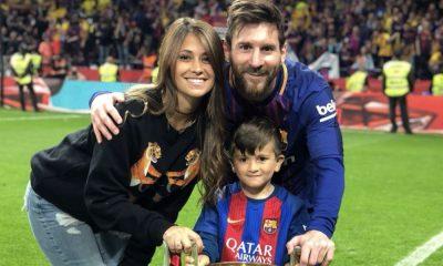 A família de Messi esteve com o jogador na conquista da Taça do Rei