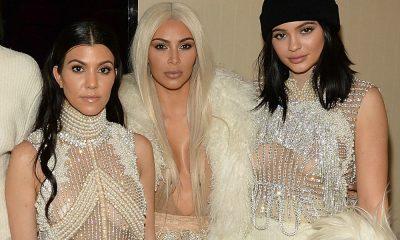 Kourtney Kardashian com as irmãs Kylie Jenner e Kim Kardashian