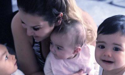 Kátia Aveiro com Eva, Mateo e Alana Martina