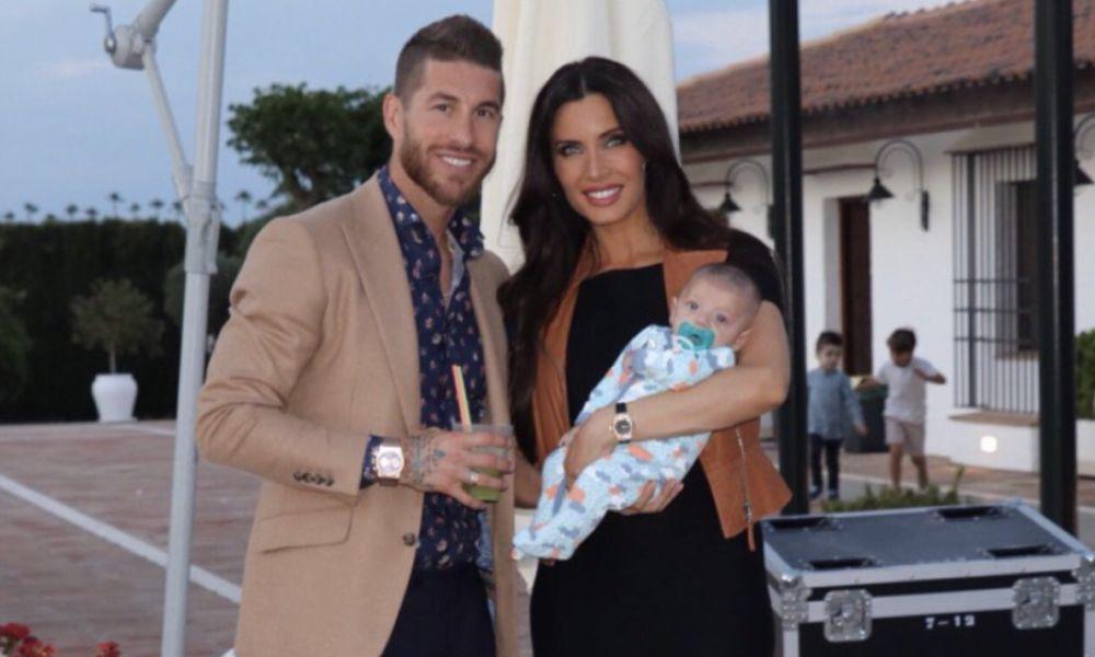 Sergio Ramos com a mulher e o filho Alejandro