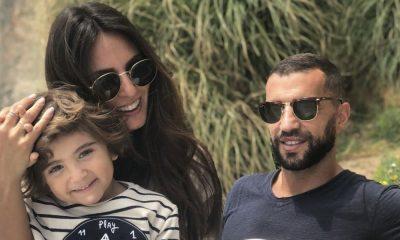 Simão Sabrosa com Vanessa Rebelo e o filho de ambos