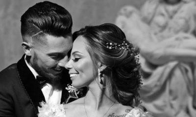 Alex Telles e Priscilla Minuto no dia do casamento