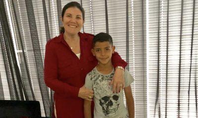 Dolores Aveiro com o neto Cristianinho