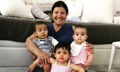 Dolores Aveiro com Eva, Mateo e Alana Martina