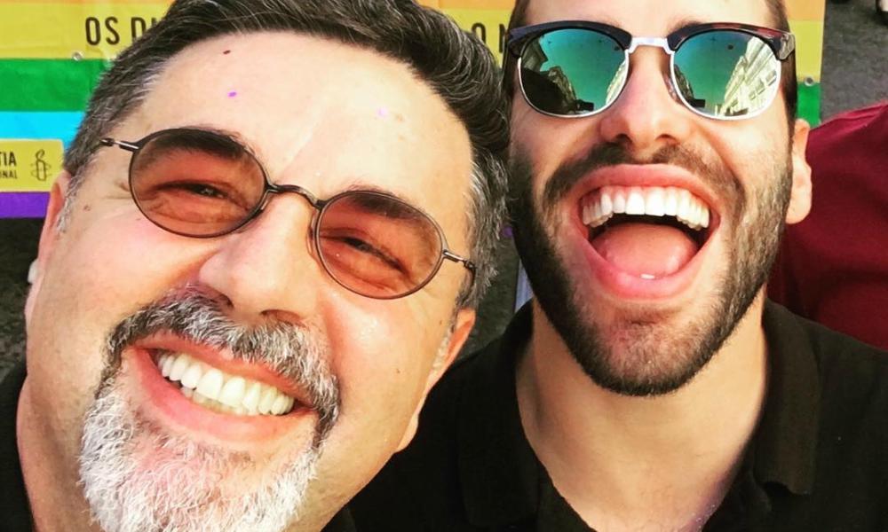 José Carlos Malato e o seu namorado na marcha LGBT em Lisboa