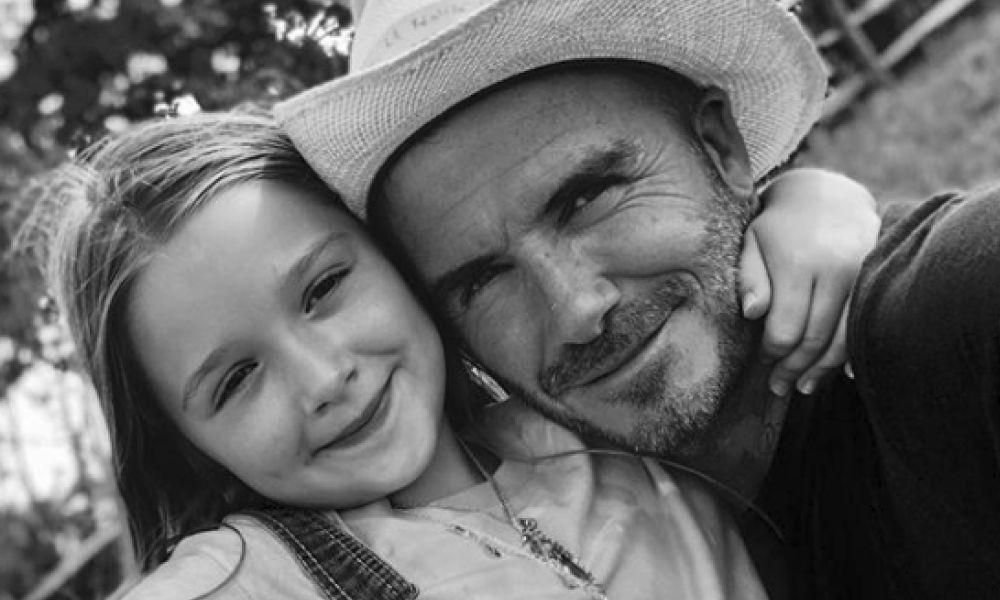 David Beckham com a filha Harper