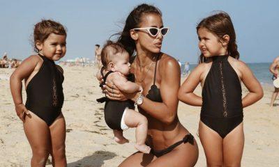 Carolina Patrocínio já levou as filhas à praia este ano
