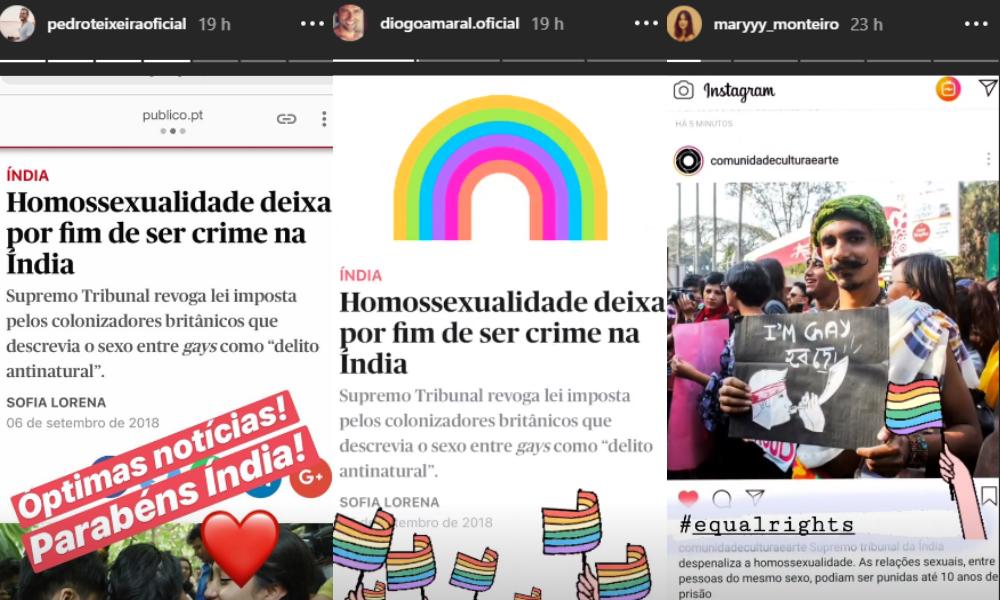 Celebridades portuguesas comemoram direitos LGBT na Índia