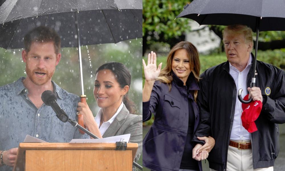 Príncipe Harry e Meghan Markle e Donald e Melania Trump
