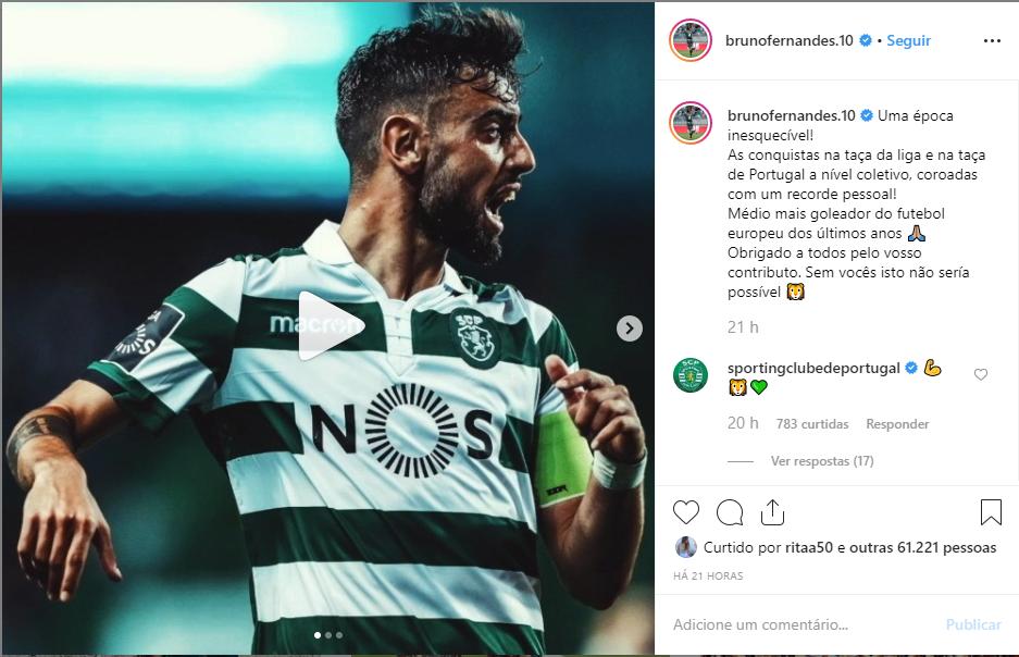 """""""Uma época inesquecível! As conquistas na taça da liga e na taça de Portugal a nível coletivo, coroadas com um recorde pessoal! Médio mais goleador do futebol europeu dos últimos anos. Obrigado a todos pelo vosso contributo. Sem vocês isto não sería possível 🦁"""", no Instagram ofical de Buno Fernandes"""